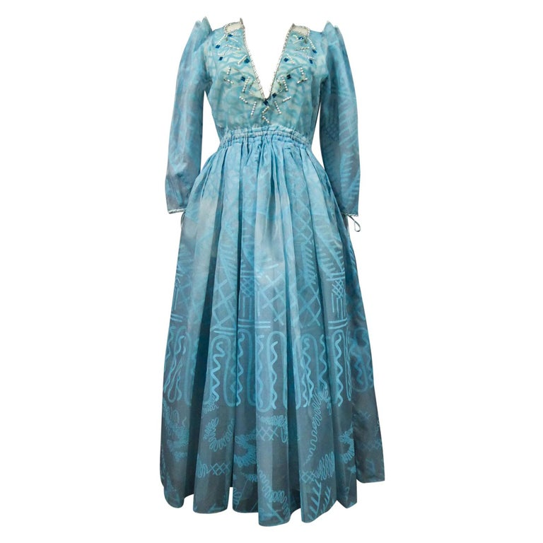 A Zandra Rhodes Evening Dress in Printed Organza - Fortuny Influence- Circa 1980 For Sale