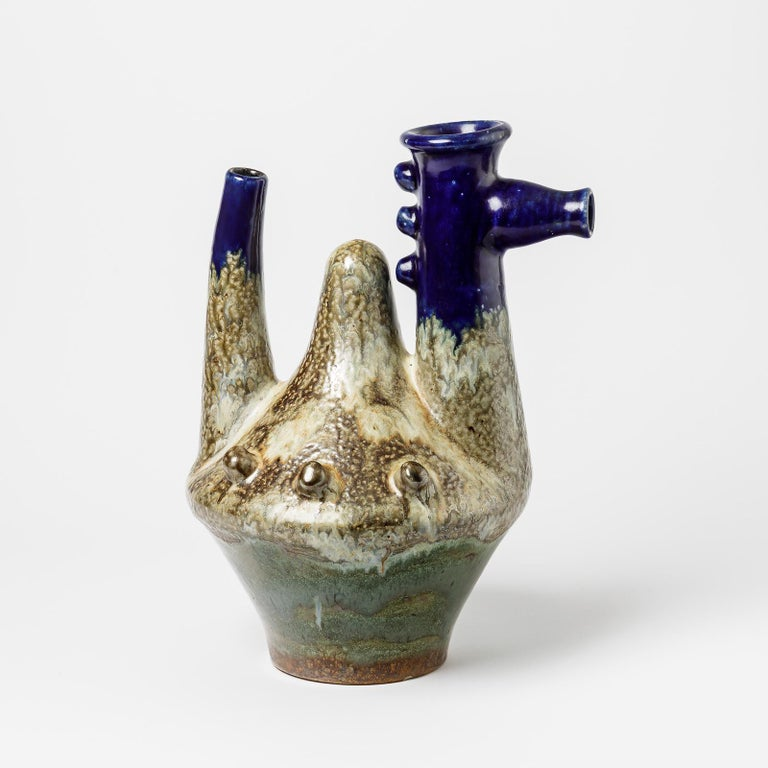 French Zoomorphic Ceramic Sculpture, Vase by Guerin, circa 1950 For Sale