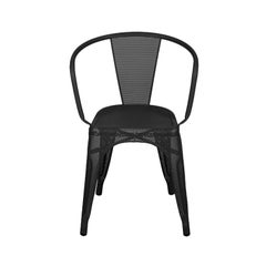 A56 Armchair Perforated in Black by Jean Pauchard & Tolix, US