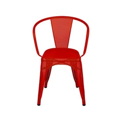 A56 Armchair Perforated in Chili Pepper by Jean Pauchard & Tolix, US