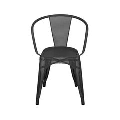 A56 Armchair Perforated in Graphite by Jean Pauchard & Tolix, US
