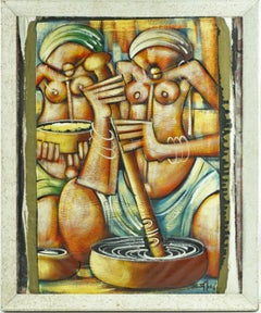 """""""African Female Figures"""" African Abstract Expressionist Oil Painting on Canvas"""