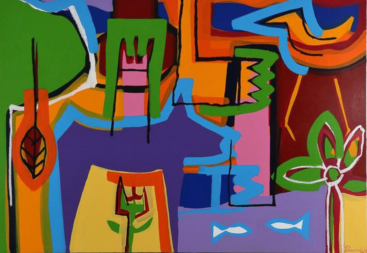 """Contemporary Art """"The Happy Bird"""" Large Abstract Expressionist Acrylic on Canvas"""