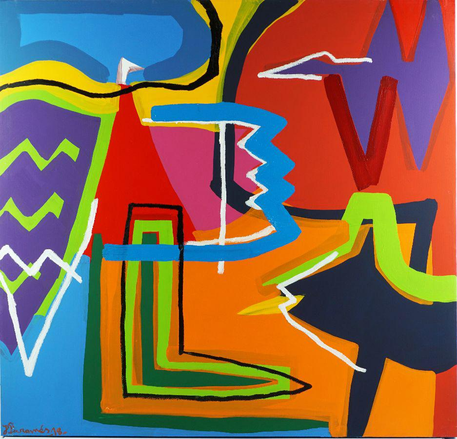 """""""Feel the Colors"""" Large Abstract Expressionist Composition Acrilic on Canvas"""