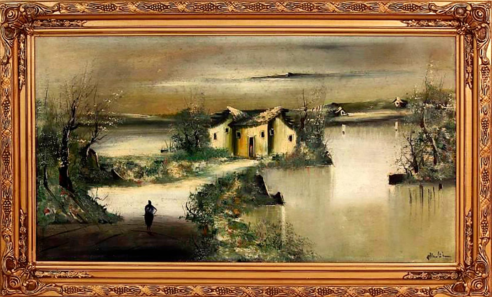 Houses And River-Large Impressionist Landscape Oil on Canvas Signed A.Huntington