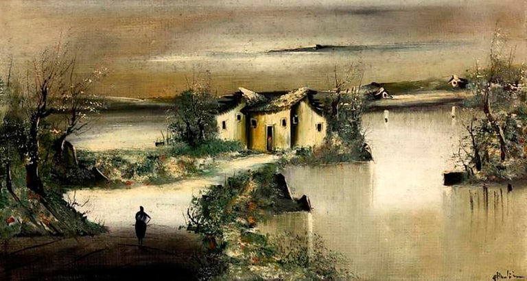 Houses And River-Large Impressionist Landscape Oil on Canvas Signed A.Huntington - Painting by A. Huntington