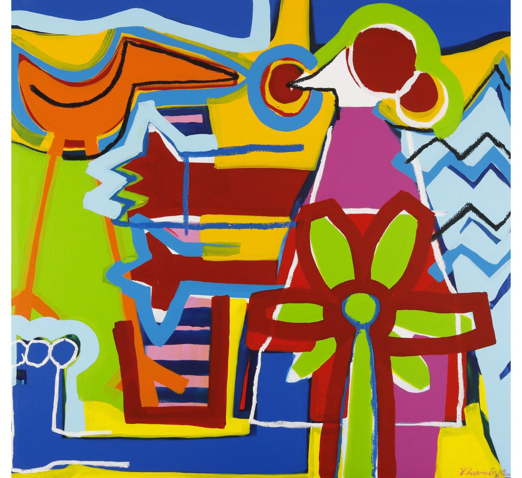 """""""The Happy Piano"""" Contemporary Art, Abstract Expressionist Acrylic on Canvas"""