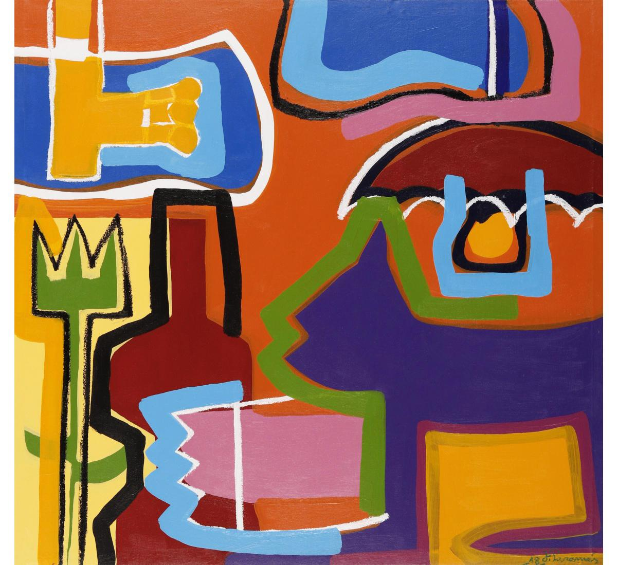 """""""The Magical Colors"""" Abstract Expressionist Composition Acrilic on Canvas Signed"""
