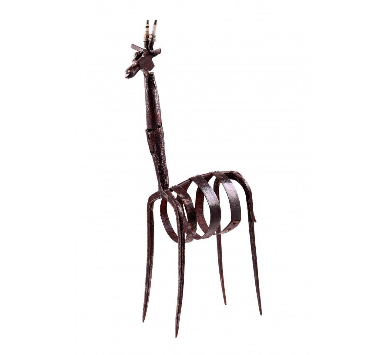 Contemporary Giraffe Sculpture Iron & Mixed Media w use of tools & other objects