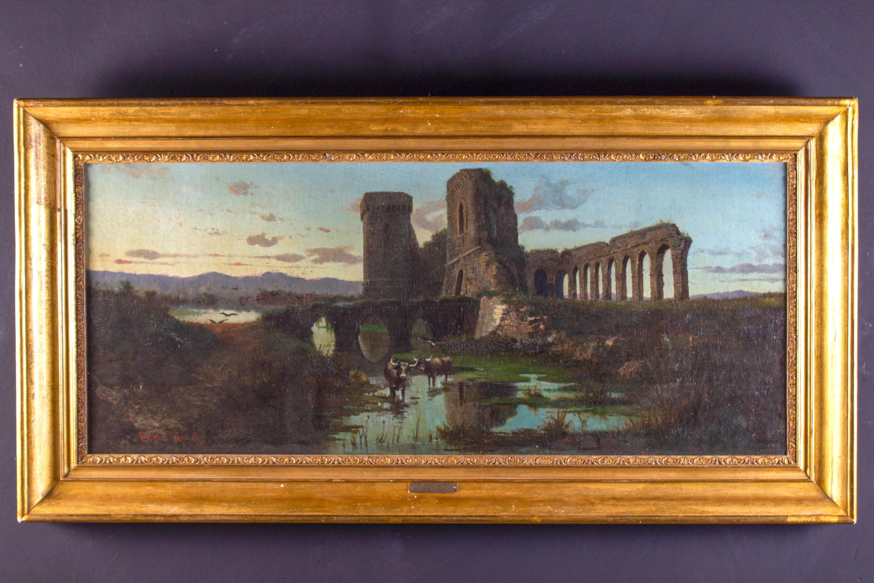 Roman Landscape with Acquedotto and Ruins  Oil on Canvas 1870