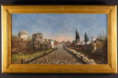 Roma via Appia Painting oil on Canvas By Ruspini Randolfo