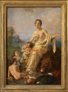 Allegory of PEACE oil on canvas  signed by Erulo Eroli