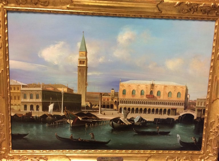 Pair of Paintings with Venetian Landscape 1940 - Brown Figurative Painting by Maire Andre