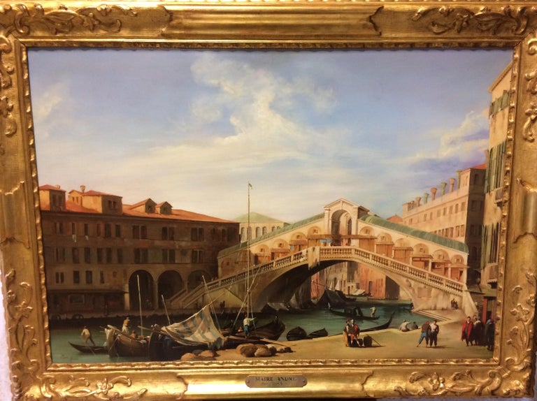 Pair of Paintings oil on Canvas with gilt wood Frame with Venetian Landscape 1940 Representing  The Ponte Rialto and Piazza San Marco. Signed Maire Andre.  Excellent decoration for your Interior.