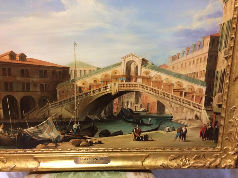 Pair of Paintings with Venetian Landscape 1940 For Sale 2