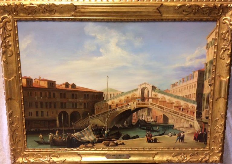 Pair of Paintings with Venetian Landscape 1940 For Sale 3