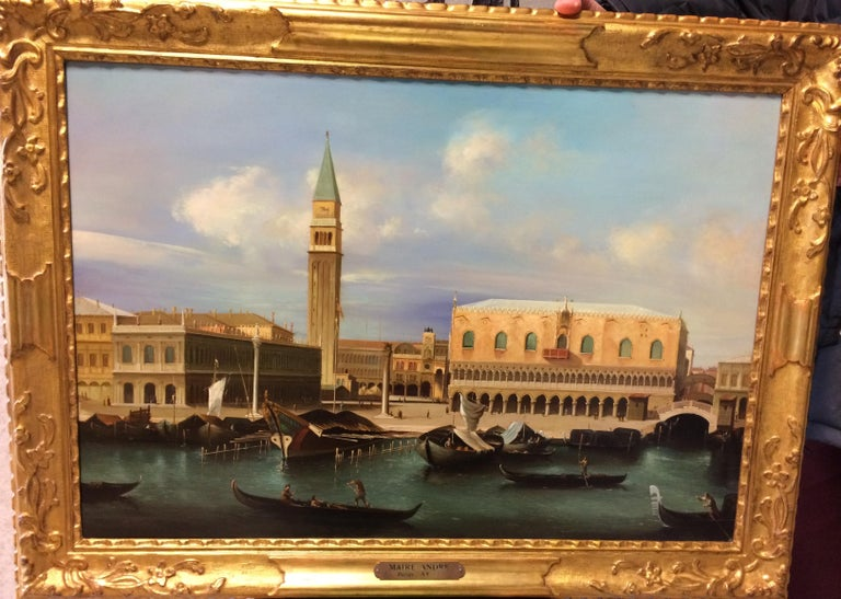Pair of Paintings with Venetian Landscape 1940 For Sale 6