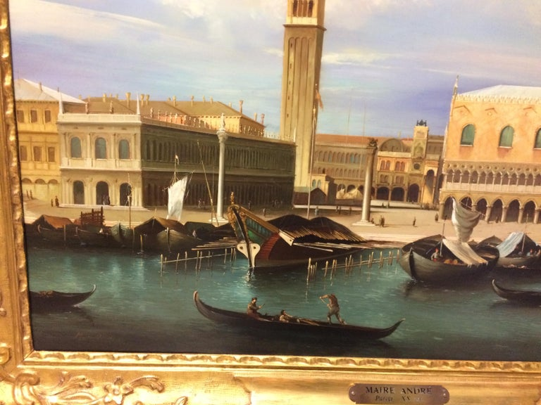 Pair of Paintings with Venetian Landscape 1940 For Sale 7