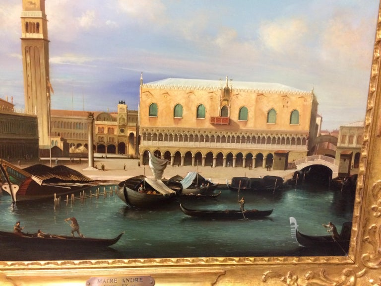 Pair of Paintings with Venetian Landscape 1940 For Sale 8