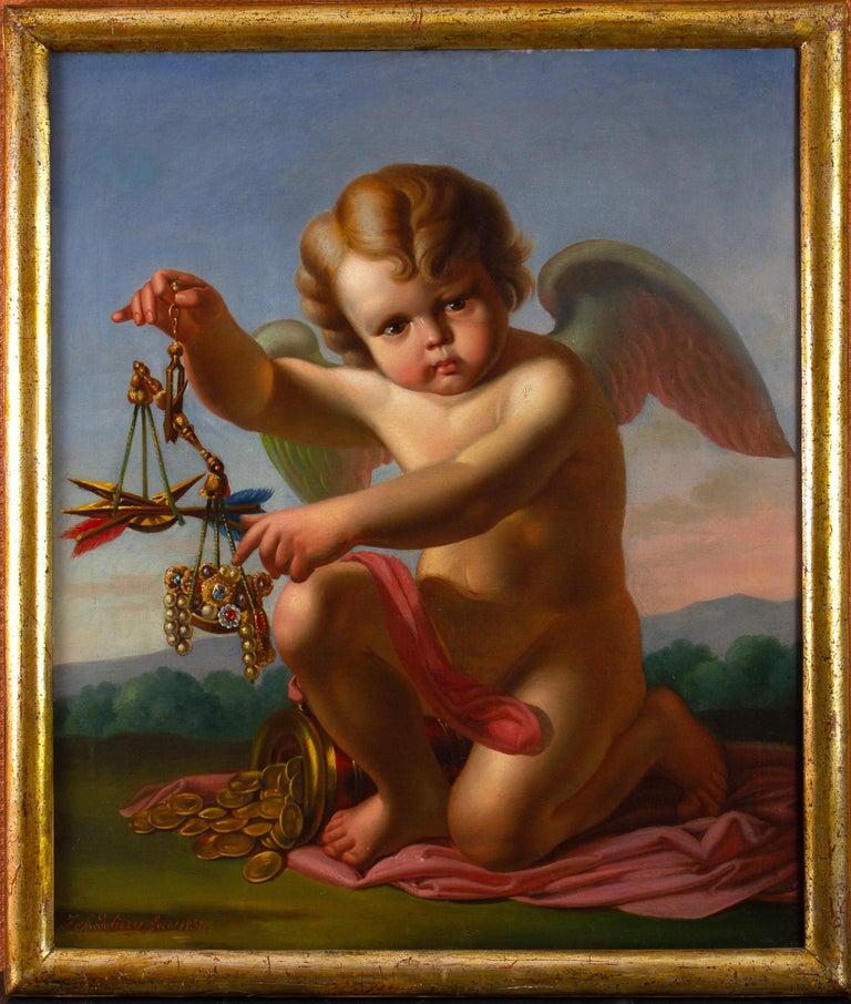 Spedalieri F. Figurative Painting - VANITAS with Cupid  Oil on Canvas 1856