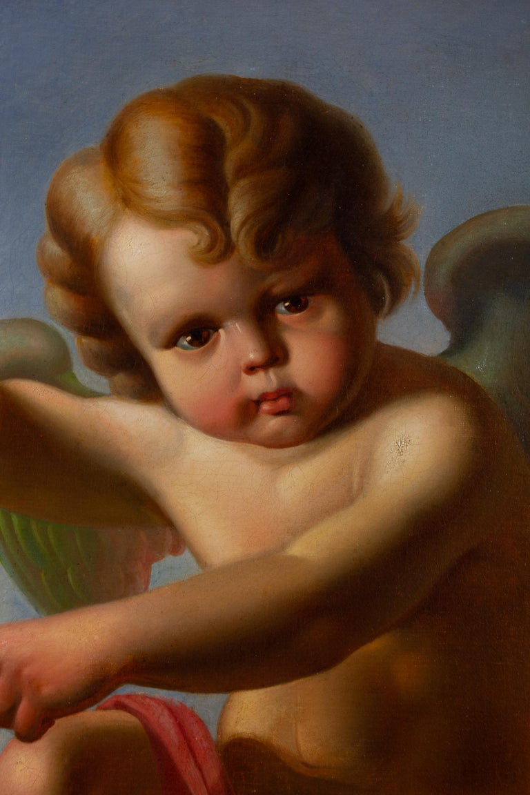 VANITAS with Cupid  Oil on Canvas 1856 - Brown Figurative Painting by Spedalieri F.