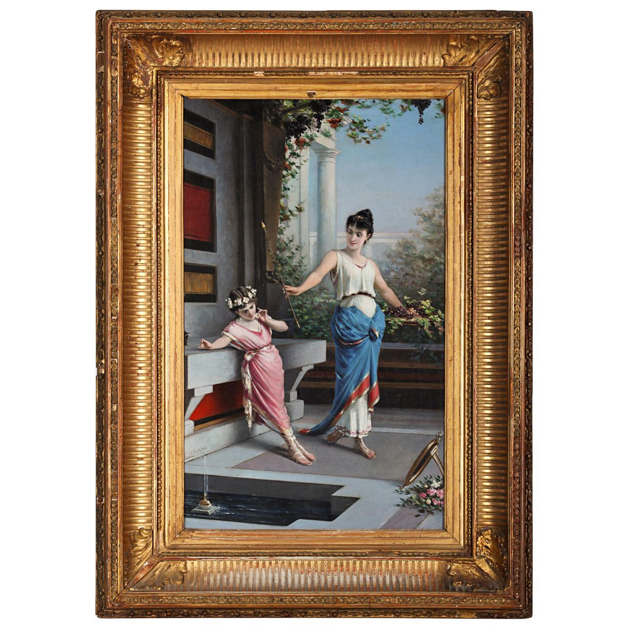 Pompeian Scene 19th century Painting Oil on Canvas Signed  Egisto  Sarri