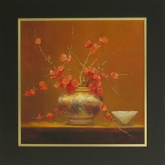 Satsuma Vase with Japonica - Still Life Painting by Jacqueline Fowler