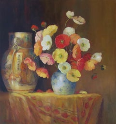 Chinese Vase with Poppies - Still Life Painting by Jacqueline Fowler
