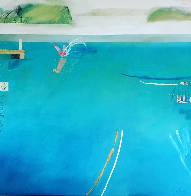 Phil Stallard Landscape Painting - Jetty Jumping (Hawkesbury Haiku)
