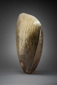 Deluge - buff stoneware, flashing slip and natural ash glaze.
