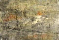 Natures Anger - monoprint, lino