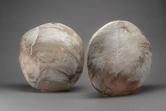 Snow Flurries II & III - Buff stoneware with earthenware slip brushwork