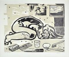 Woodcut by Erik Hagens, Denmark 1984