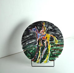 Scandinavian Painted Glass Dish by the Norwegian artist Frans Widerberg