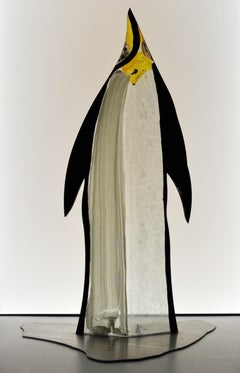 Scandinavian Stained Glass Pinguin Sculpture mounted on stainless steel base