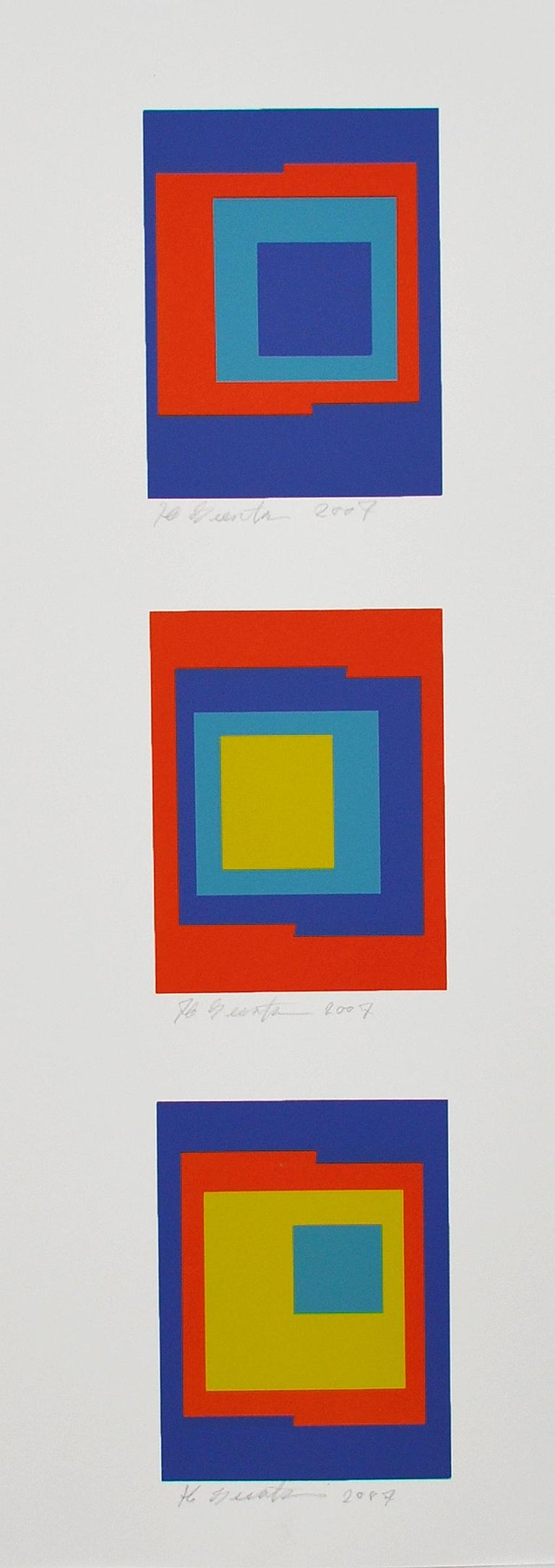 Screen Prints (3) by Ib Geertsen, signed, 2007. Ib Geertsen (1919-2009) worked with the concrete art, where the line, shape, color and movement are the content.  Occupation: sculptor, painter, graphic artist, color architect  Geertsens works are art