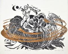 "Woodcut ""Dreamer (W. Blake)"" by Erik Hagens, Denmark 1984"