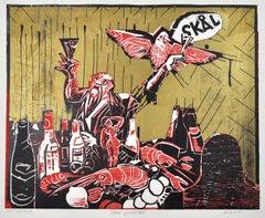 "Woodcut ""Danish Golden Age"" by Erik Hagens, Denmark 1984"