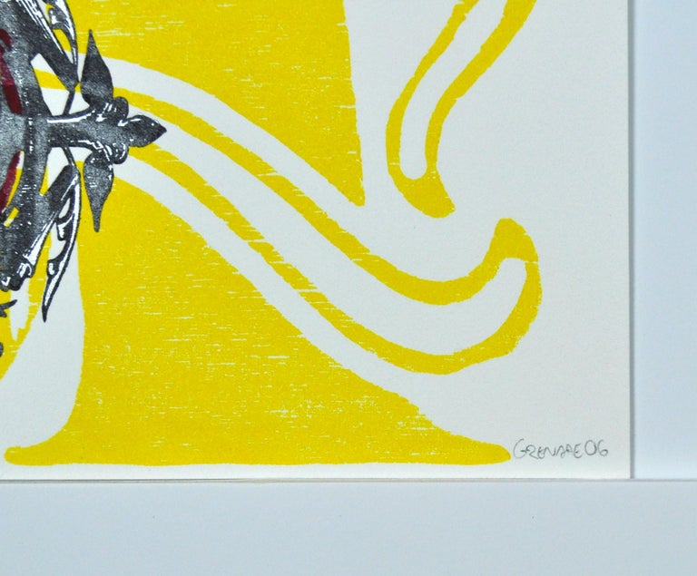 """Scandinavian Woodcut and Screen Print: """"Uncle Henry"""", signed and numbered For Sale 2"""
