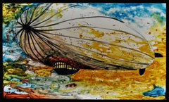"Scandinavian Stained Glass Window/Painting ""Glass Zeppeliner"""