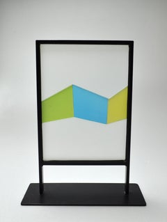 Abstract Geometric Scandinavian Stained Glass Sculpture
