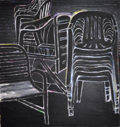 Contemporary Neo-Expressionistic Painting - Eclipse of the Chairs II