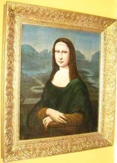 18thc Mona Lisa Oil Portrait Painting After The Original By Leonardo Da Vinci