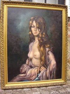 Art Deco Oil Portrait Painting of Semi Nude Beautiful Lady In Moonlit Pose