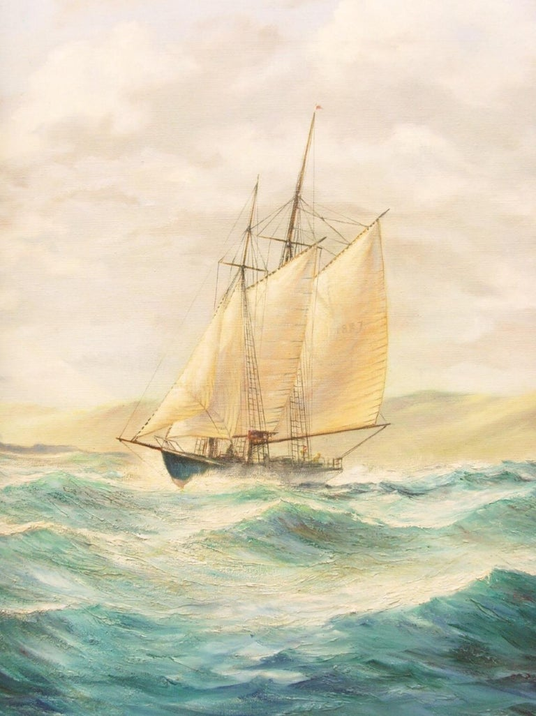 We are pleased to offer this very large seascape oil on canvas of St. Michael's Mount, Marazion, Near Penzance, Cornwall by the artist Kenneth E. Carter.   The paintings depicts the Mount from the east on a bright and blustery day, with a two-masted