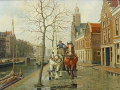 20thc Oil Painting of Amsterdam Dutch Canal Street Scene Cart & Horses Galloping