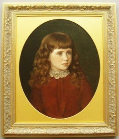 19thc Victorian Oil Portrait Painting Of Beautiful Young Girl Wearing Red Dress