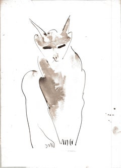 Cat I Ink Drawing Series by Miguel Angel Battle Ink on Paper Tao Art