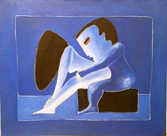 Blue Love by Miguel Angel Batalla Original Painting Oil on Canvas