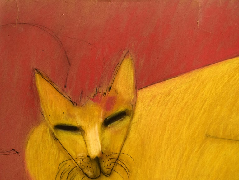 Cat Series II by Miguel Angel Batalla Original Painting Chalk and Charcoal Paper For Sale 2